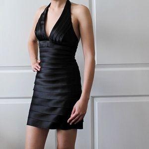 BCBGMaxazria Halter neck Mini Bodycon Dress -Black
